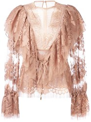 Lanvin Billow Sleeve Lace Blouse Pink And Purple
