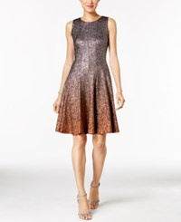 Msk Glitter Ombre Metallic Fit And Flare Dress Black