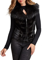 Guess Faux Fur Vest Jet Black