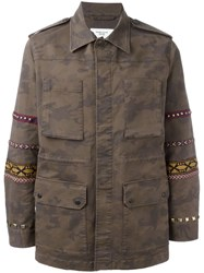 Fashion Clinic Timeless Embroidered Sleeve Field Jacket Green