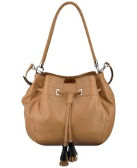 Nine West Take A Lift Bucket Bag Dark Camel Black