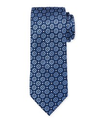Neiman Marcus Textured Medallion Silk Tie Blue Pattern