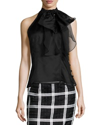 Milly Gwyneth Silk Organza Halter Top Black