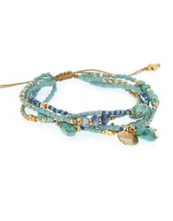 Chan Luu Turquoise Sodalite And Sterling Silver Beaded Wrap Bracelet