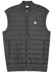 Moncler Grey Shell And Wool Blend Gilet