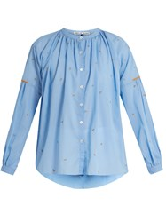 Jupe By Jackie Kahano Embroidered Cotton Top Blue Multi