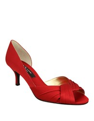 Nina Culver Satin Open Toe Pumps Red