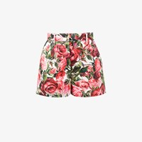 Dolce And Gabbana Rose Print Shorts Pink And Purple
