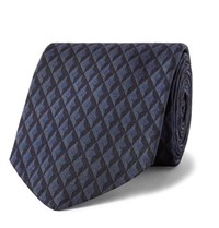Dunhill 8Cm Textured Mulberry Silk Jacquard Tie Navy