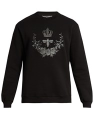 Dolce And Gabbana Bee Crest Embroidered Cotton Blend Sweatshirt Black