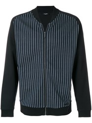 Calvin Klein Striped Bomber Jacket Black
