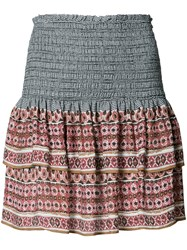 Veronica Beard Printed Mini Ruffled Skirt Black