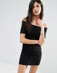 Noisy May Off The Shoulder Ribbed Dress Black