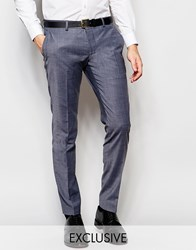 Number Eight Savile Row Exclusive Melange Suit Trousers With Stretch In Skinny Fit Gray