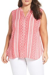 Foxcroft Plus Size Women's Island Geo Sleeveless Blouse