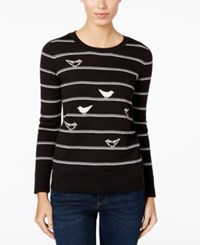 G.H. Bass And Co. Striped Bird Print Sweater Black Combo