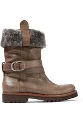 Brunello Cucinelli Faux Fur Trimmed Metallic Textured Leather Boots Brown