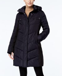 Calvin Klein Hooded Quilted Colorblock Puffer Coat Navy
