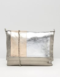 Urbancode Gray Real Leather Tonal Color Block Bag Multi
