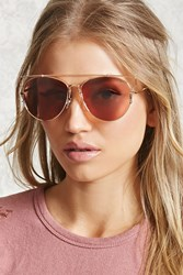 Forever 21 Cutout Aviator Sunglasses Rose Gold Pink