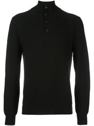 Brioni Buttoned High Neck Pullover Black