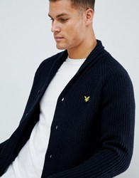 Lyle And Scott Shawl Neck Cardigan In Navy