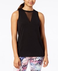 Material Girl Active Juniors' Mesh Inset Tank Top Created For Macy's Noir