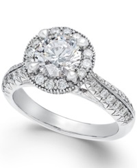 X3 Certified Diamond Engagement Ring In 18K White Gold 2 Ct. T.W.