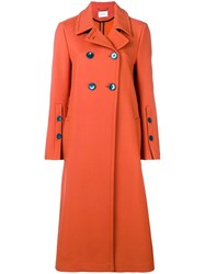 Dorothee Schumacher Long Double Breasted Coat Yellow And Orange