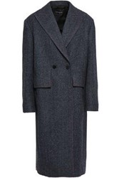Cedric Charlier Woman Double Breasted Checked Wool And Cashmere Blend Coat Navy