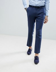 Asos Slim Suit Trousers In Blue Wool Mix Twill