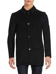Corneliani Contemporary Wool Coat Black