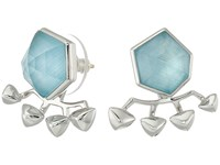 Stephen Webster Superstud Crystal Haze Earrings Blue Cats Eye Over White Mother Of Pearl Earring