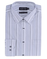 Double Two Men's Patterned Formal Shirt White