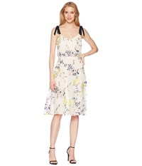 Donna Morgan Embroidered Mesh Blouson Midi With Self Tie Shoulder Yellow Navy Multi Dress