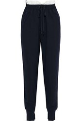 3.1 Phillip Lim Woman Shell Trimmed Wool Blend Track Pants Midnight Blue