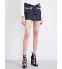 Dsquared Leather And Denim Skirt Red And Black