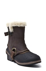 Women's Blondo 'Mila' Waterproof Boot With Faux Fur Trim Brown Leather