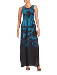 Halston Printed Keyhole Back Maxi Dress Atlantic