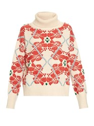 Barrie Smooth Ride Embroidered Cashmere Sweater Cream Multi