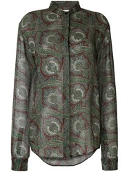 Saint Laurent Paisley Long Sleeve Shirt Green