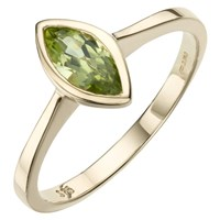 A B Davis 9Ct Gold Marquise Cut Rubover Ring Peridot