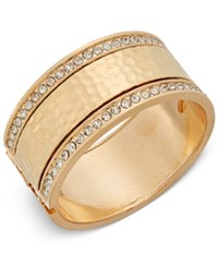 Thalia Sodi Gold Tone Hammered Look And Pave Hinged Bangle Bracelet Only At Macy's