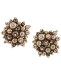 Carolee Gold Tone Brown Imitation Pearl Cluster Clip On Stud Earrings