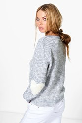 Boohoo Heart Elbow Patch Jumper Vintage Blue
