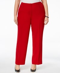 Kasper Plus Size Straight Leg Crepe Pants Fire Red