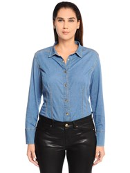 Marina Rinaldi Cotton Denim Shirt W Grosgrain Bow Blue