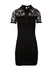 Morgan Lavalliere Tie Lace Dress Black