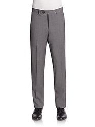 Saks Fifth Avenue Slim Fit Melange Wool Trousers Grey
