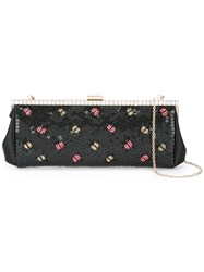 Red Valentino Lady Bugs Embellished Clutch Black